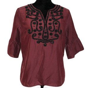 RSVP by Talbots Silk Cotton Embellished Blouse